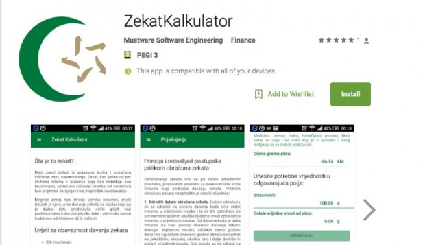 Instalirajte aplikaciju Zekat kalkulator